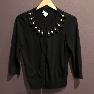 Beaded Black Cardigan, 3/4 Sleeve
